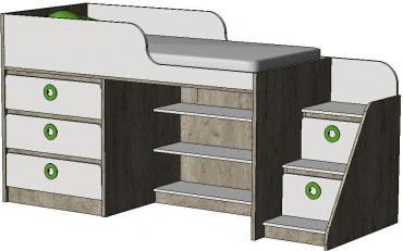 Кровать-чердак с комодом MBR1Q Клюква Мини