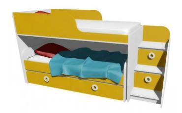 Кровать-чердак с выкатной кроватью MBR2Q Клюква Мини изображение 1