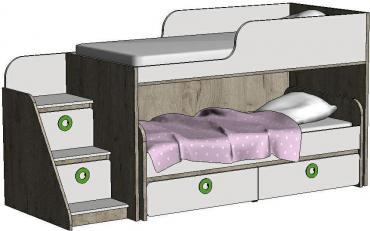 Кровать-чердак с выкатной кроватью MBR2Q Клюква Мини изображение 2