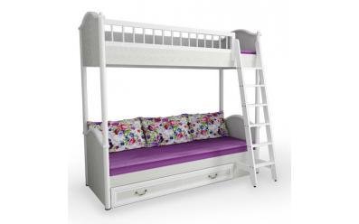Кровать 2-х ярусная с лесенкой и ящиком Классика