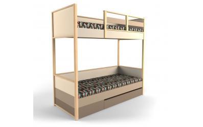 Кровать 2-х ярусная с фальш панелью Робин Wood - Левая