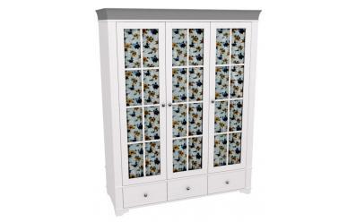 Шкаф 3-х дверный со стеклянными дверями Бейли