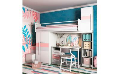 Набор мебели Нежный Олли (кровать со шкафом, стол)
