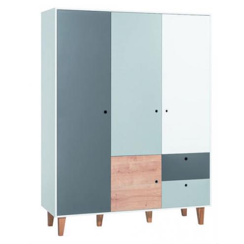 Шкаф 3-х дверный (белый/графит/серый/дуб) Concept