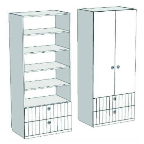 Шкаф 2-х дверный с полками и 2-мя ящиками VS1-77Q Velvet