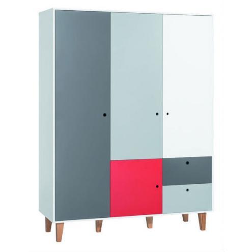 Шкаф 3-х дверный (белый/графит/серый/красный) Concept