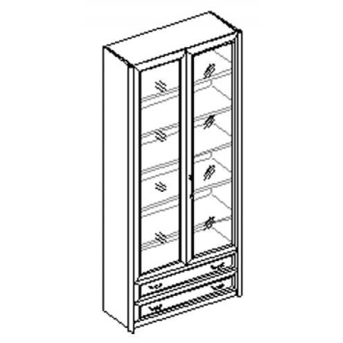 Шкаф для книг 2-х дверный с 2 ящиками 21.046