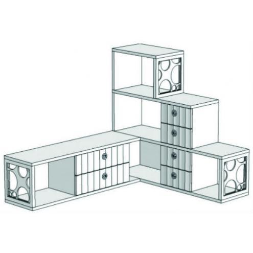 Горка 3-х этажная угловая с 6-ю ящиками VGC1Q Velvet