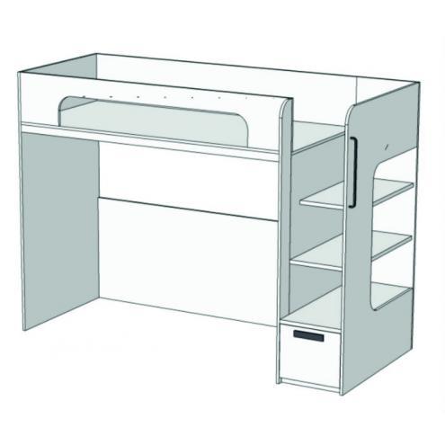 Кровать с ящиком 2-ой ярус Junior BR-02Q с рисунком