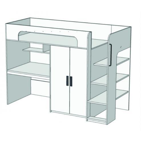 Кровать-чердак с компьютерным столом и шкафом Junior BR-05