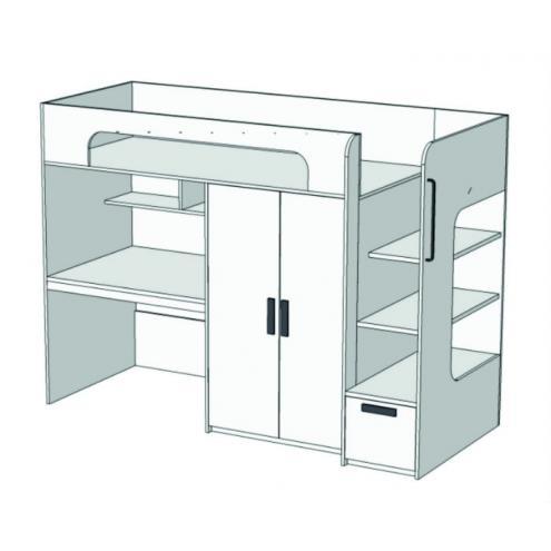 Кровать-чердак с ящиком, компьютерным столом и шкафом Junior BR-06Q с рисунком