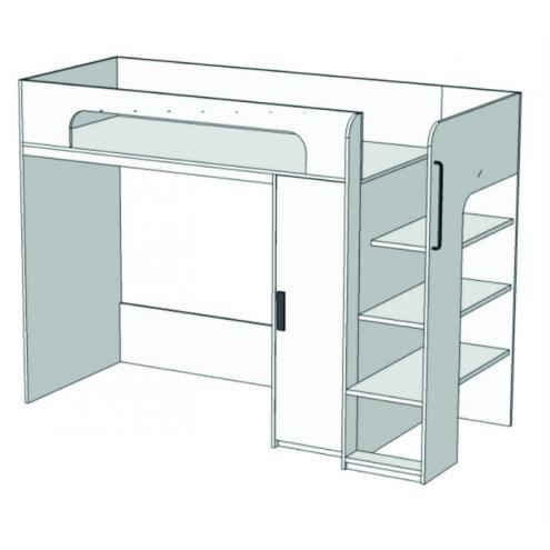 Кровать-чердак с компьютерным столом и пеналом Junior BR-07 с рисунком
