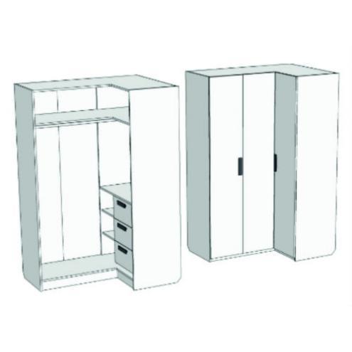 Шкаф-гардероб угловой с 3-мя внутренними ящиками Junior CC-021Q с рисунком