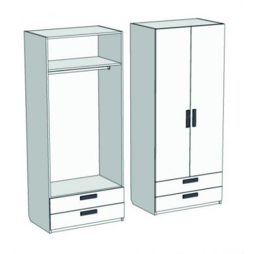 Шкаф 2-х дверный со штангой и 2-мя ящиками Junior CL-0570Q с рисунком