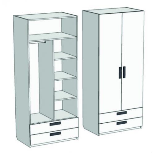 Шкаф 2-х дверный комбинированный с 2-мя ящиками Junior CL-0670Q с рисунком