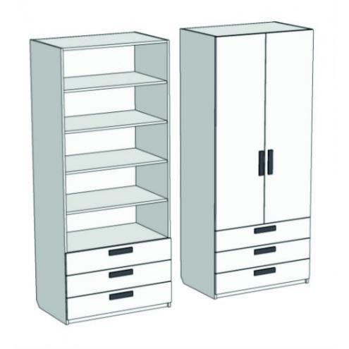Шкаф 2-х дверный с полками и 3-мя ящиками Junior CL-0770Q с рисунком
