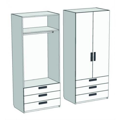 Шкаф 2-х дверный со штангой и 3-мя ящиками Junior CL-08, CLH-08 с рисунком