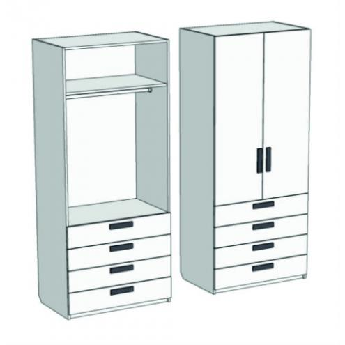 Шкаф 2-х дверный со штангой и 4-мя ящиками Junior CL-1070Q с рисунком