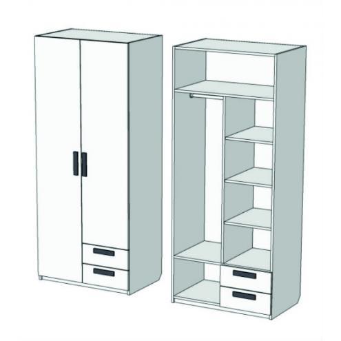 Шкаф 2-х дверный комбинированный с 2-мя ящиками Junior CL-1170Q с рисунком