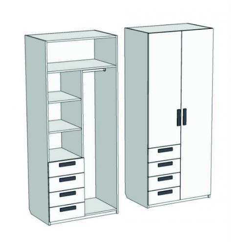 Шкаф 2-х дверный комбинированный с 4-мя ящиками Junior CL-1270Q с рисунком