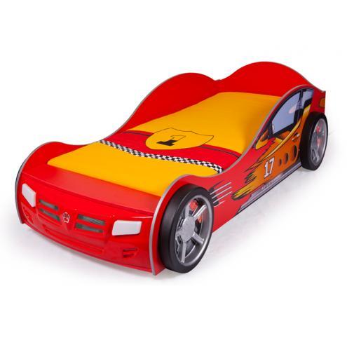Кровать машина Champion (красная) со светящимися фарами и подсветкой днища