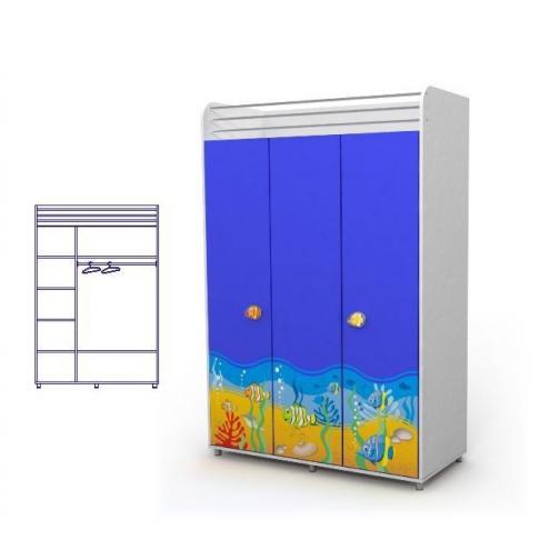 Трехдверный шкаф (море)