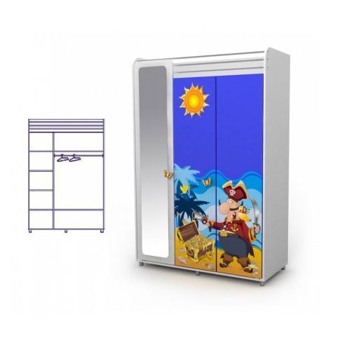 Трехдверный шкаф с зеркалом (пират)