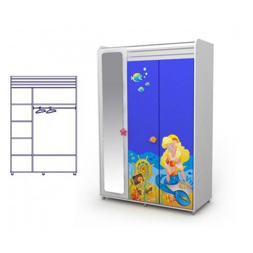 Трехдверный шкаф с зеркалом (русалка)